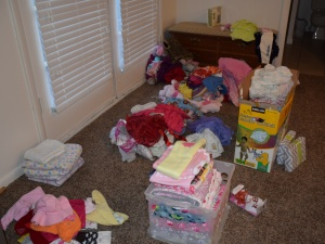 Some of the laundry piles that filled my bedroom this week.