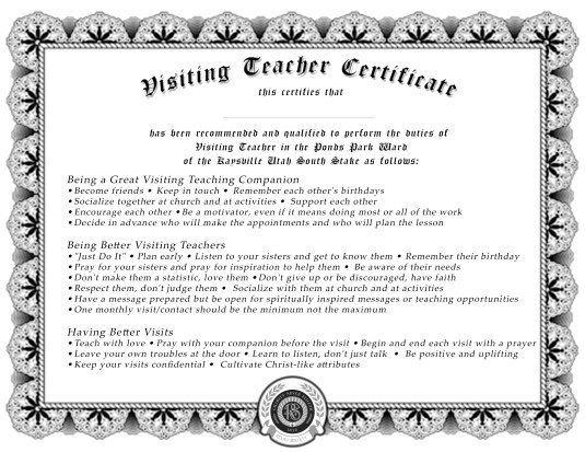 Visiting Teaching Certificate