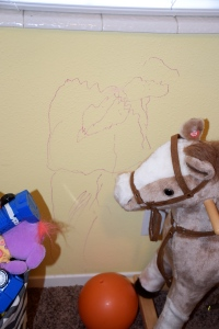 I was never going to let my kids draw on our walls. Opps!