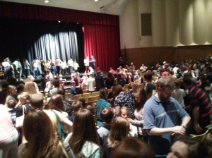A glimpse of the throng of people snaking through the auditorium to meet Brandon Mull and Richard Paul Evans.